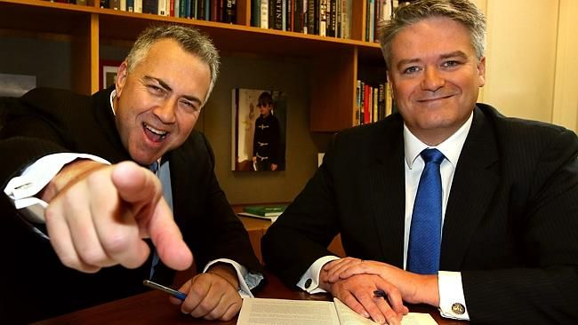 Treasurer Joe Hockey and Finance Minister Mathias Cormann on Budget Day morning in the Tr