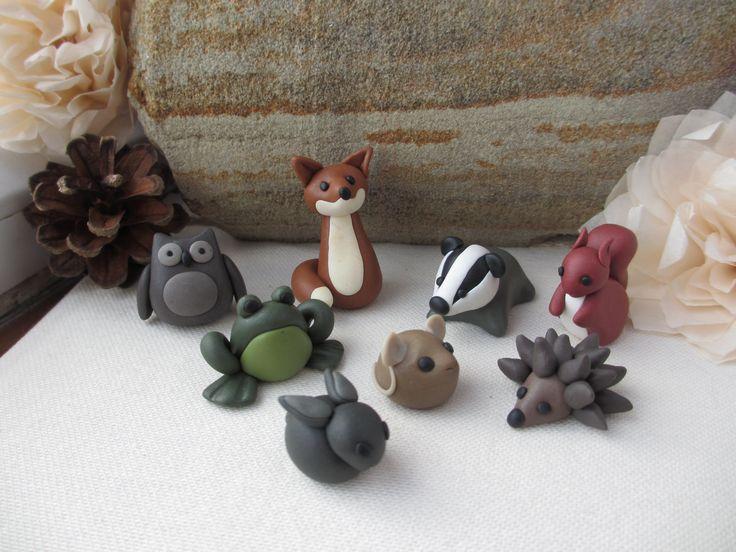 Woodland Army British wildlife polymer clay miniatures: fox, frog, skunk, squirrel, owl