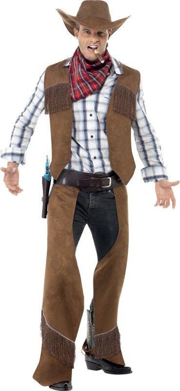 Disfraz de cowboy hombre: Este disfraz de cowboy para hombre está compuesto de un chaleco, un cubre-pantalón, un sombrero y un pañuelo.El chaleco de textura de imitación ante es de color...