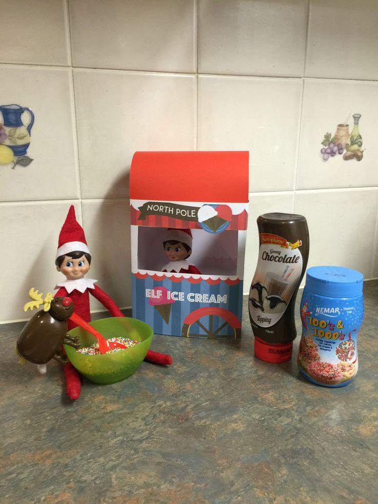 December 6th - Effie's North Pole Ice Cream cart! No ice cream just sprinkles and chocolate fudge. #elfontheshelf