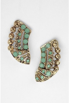 ..: Fashion, Jewel, Stone Post, Color, Cute Earrings, Art Deco Earrings, Curved Stone, Artsy Earrings