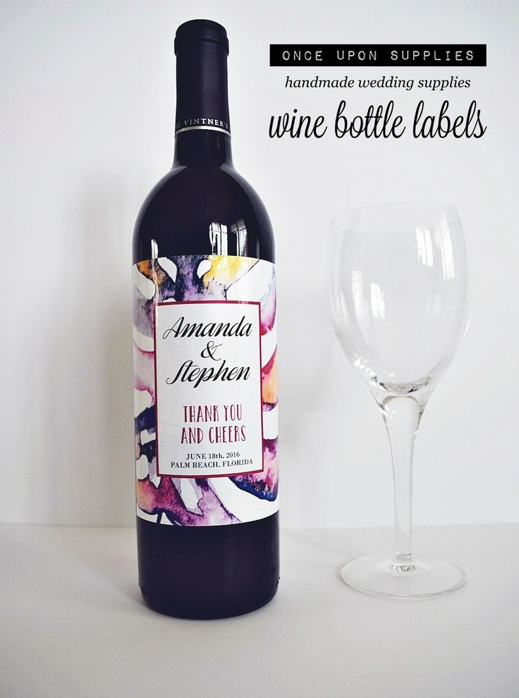 wine wedding shower gift poem%0A Personalized Labels Wine Bottle Labels  Abstract Pink Purple Watercolor