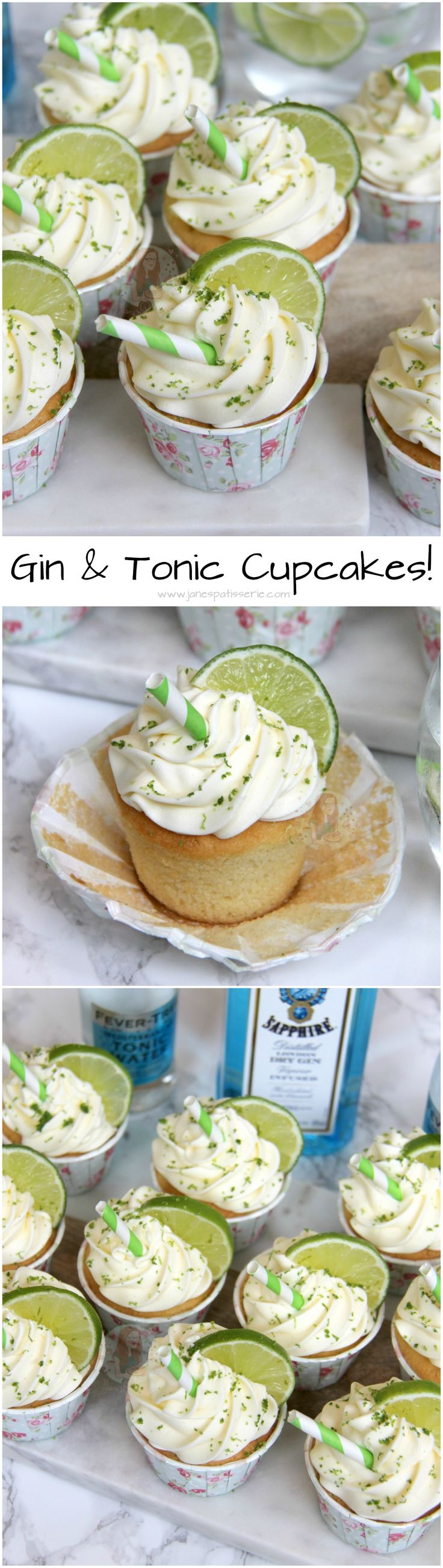 Gin & Tonic Cupcakes! ❤️ Soft and Delicious Gin & Tonic Sponges, with Gin & Tonic Buttercream Frosting, Lime, and a little Straw to Decorate!