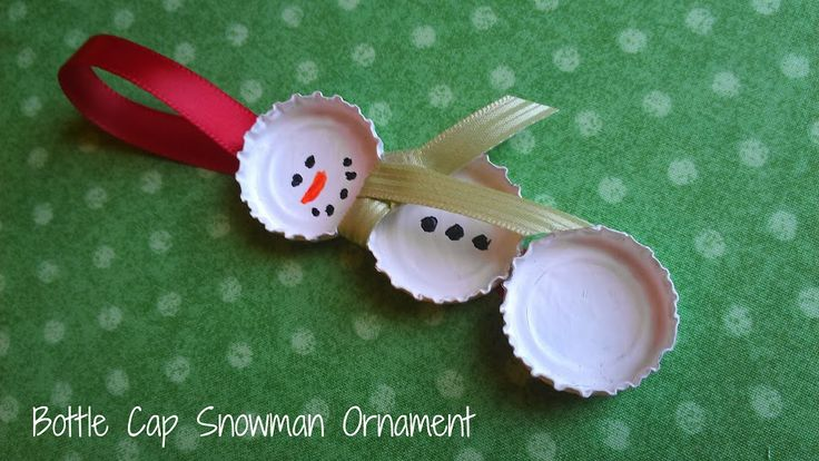 Christmas in July: DIY Bottle Cap Snowman Ornament Craft #CIJ13