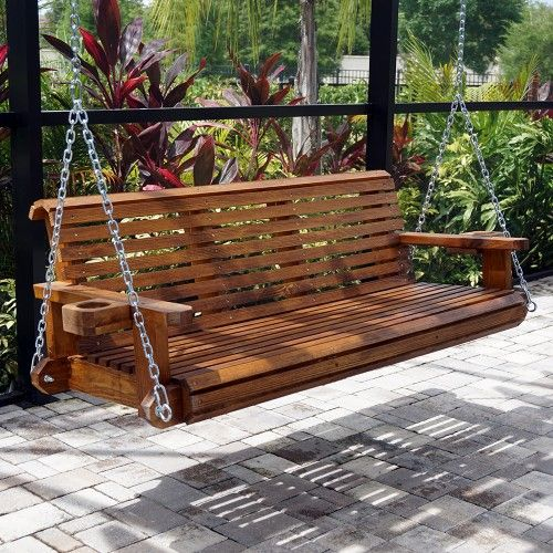 HP Swings Heavy Duty 800 Lb Roll Comfort Wood Porch Swing Chains Included
