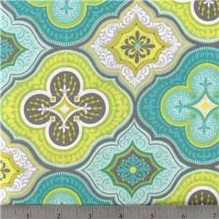 Cotton Fabric -  Turquoise and Lime Moroccan Cotton Fabric by the Yard - Quilt Fabric - Apparel Fabric - Home Decor Fabric - Fat Quarters