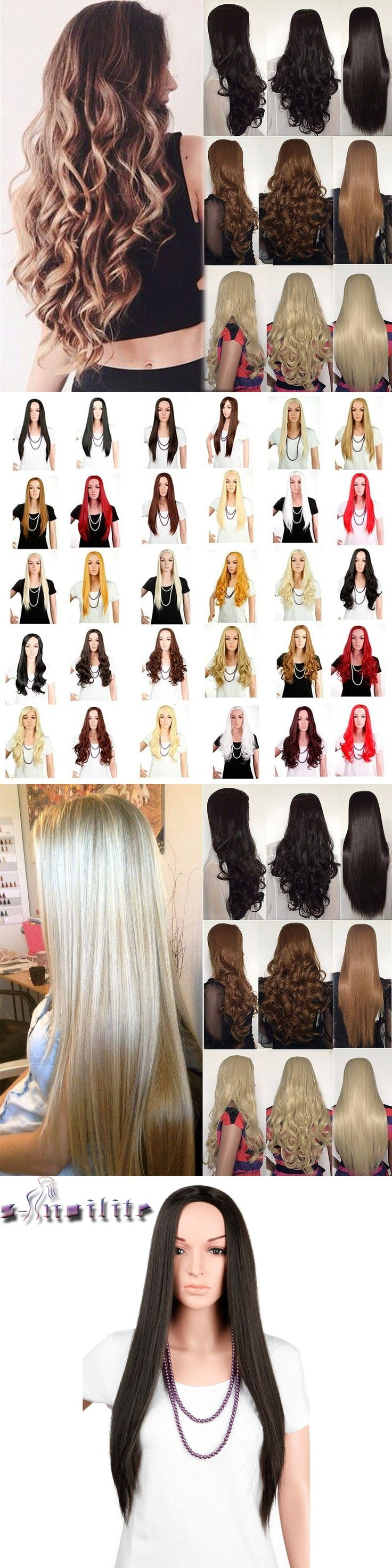 S-noilite 25inches 300g Clip In Hair Piece Long Half Wig Black Blonde Brown Ombre Straight 3/4 Full Wigs Synthetic Fiber