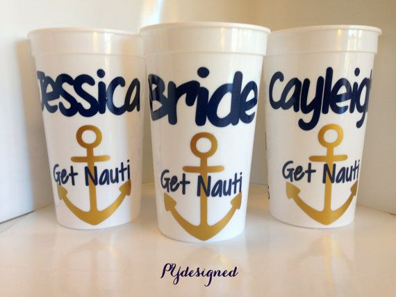 Get Nauti Personalized Cups for Bachelorette Party Nautical theme Custom with Name