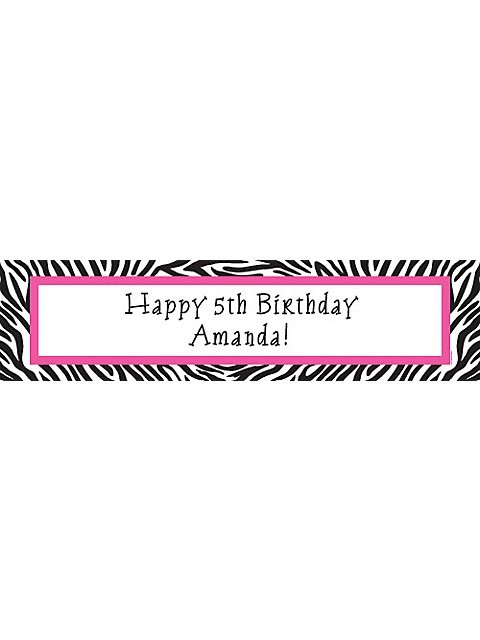 Zebra Party Personalized Banner