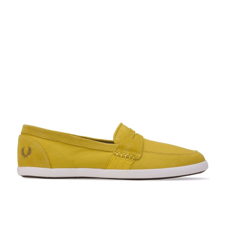 FRED PERRY Mens B4233 Halstead Trainers Yellow - Halstead from Fred Perry is a perfect smoothy for the warmer weather this year. This sleek yellow take on a penny loafer from the iconic British brand features suede detailing for a premium feel, with classic Laurel Wreath branding to finish nicely.