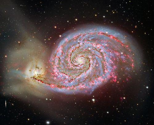 The Whirlpool Galaxy disintegrates its smaller neighbor