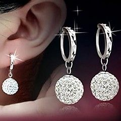 925 Sterling Silver Diamond Stud Earrings Shambhala with Princess Ball Stud Earrings