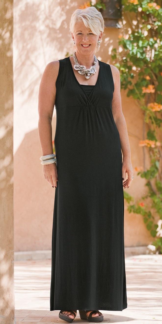 Kasbah black jersey sleeveless maxi dress