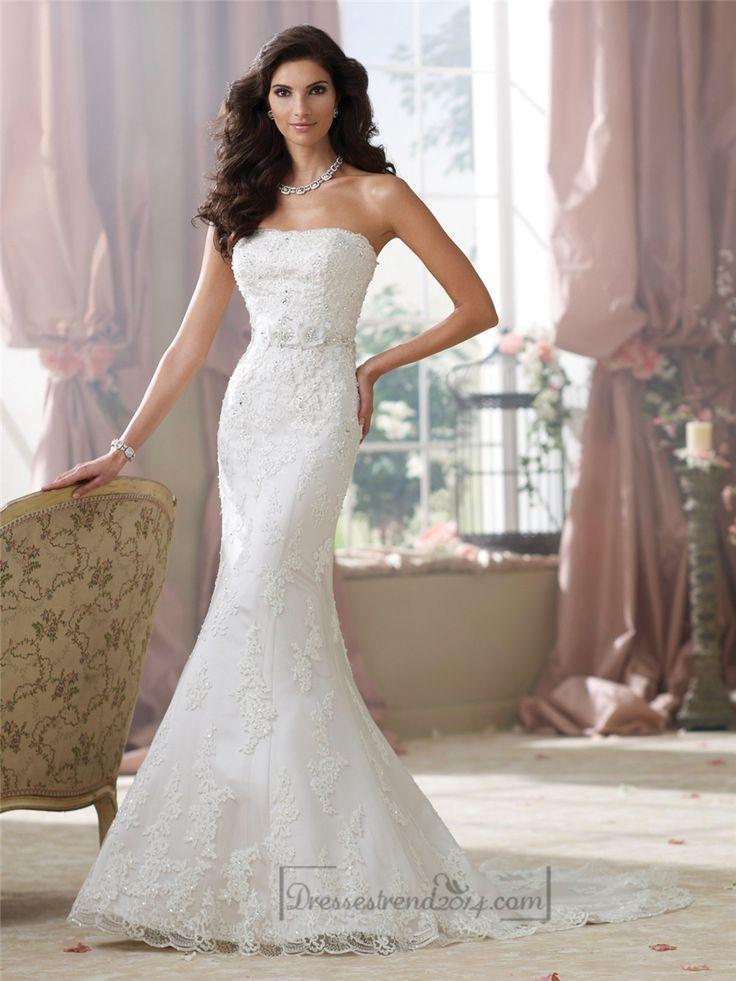 Strapless Lace Appliques Mermaid Wedding Dresses