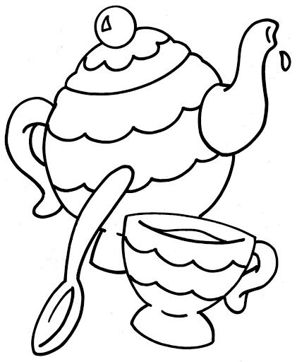 Juego de té para colorear | elena | Coloring pages, Tea party y Tea