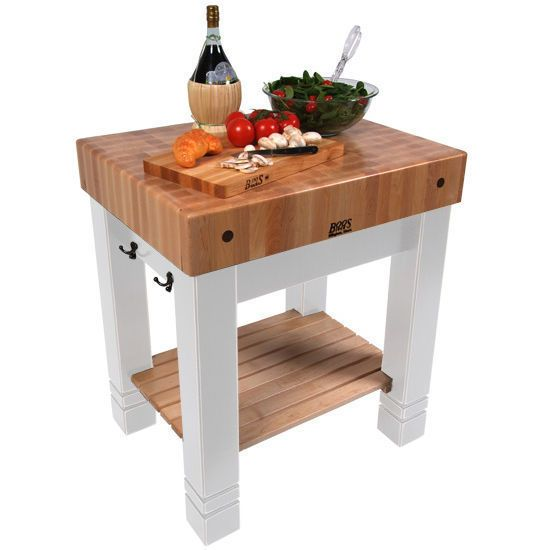 John Boos American Heritage Alabaster 30-inch x 24-inch Butchers Block Table & Bonus 13-piece Henckels Knife Set