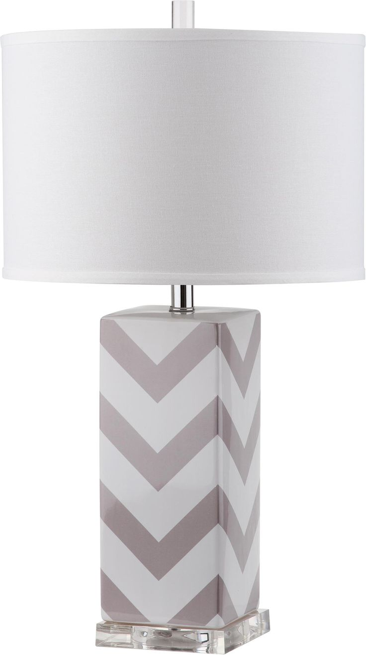 """Faye Stripe 27"""" H Table Lamp with Drum Shade"""