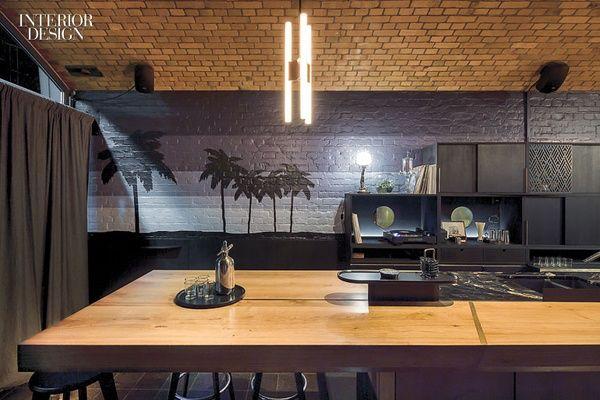 Cozinha de teto abobadado em tijolo