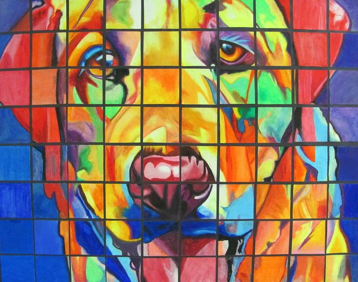 Collaborative Dog Reproduction using a 1 inch Grid and up-sizing to a 4 inch Grid w/ Oil Pastels - Conway High School Art Project