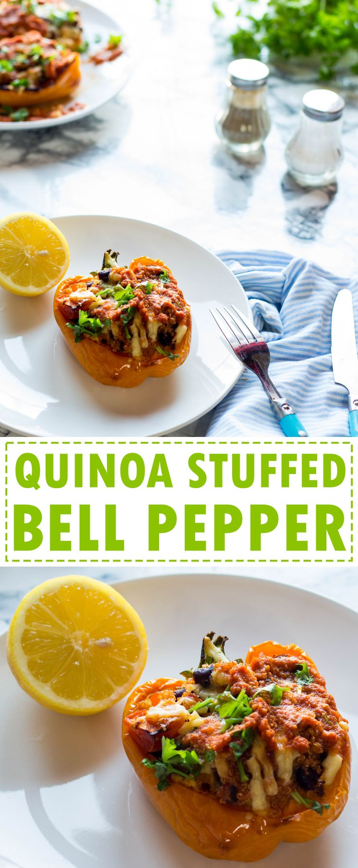 Easy and healthy quinoa stuffed bell pepper recipe. Prep can be done in under 15 minutes and then you can let oven do the hard work!