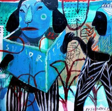 "Saatchi Art Artist Rusudan Khizanishvili; Painting, ""She is wearing....the Blue.."" #art"