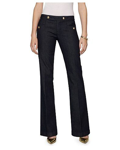 These jeans are super flattering and stay flat in the front.  Can't wait to wear them:) Wide Leg Jean