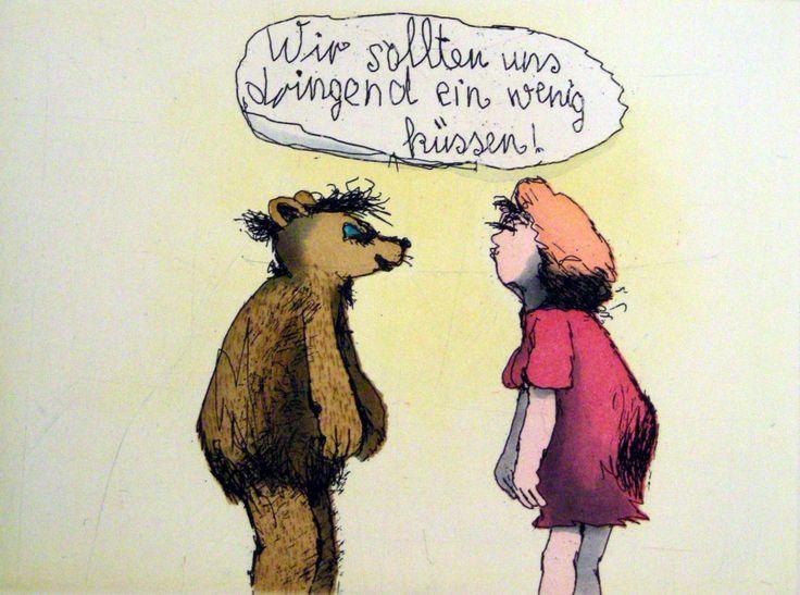 Wir sollten uns dringend ein wenig küssen von Janosch präsentiert von der Galerie am Dom in Frankfurt und Wetzlar
