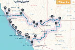 Roadtrip i Californien 2015: Vores endelige rute