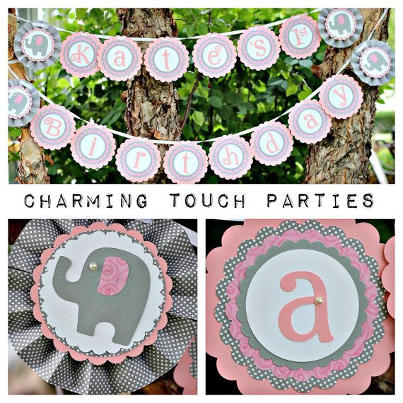 Deluxe and personalized pink and gray by CharmingTouchParties