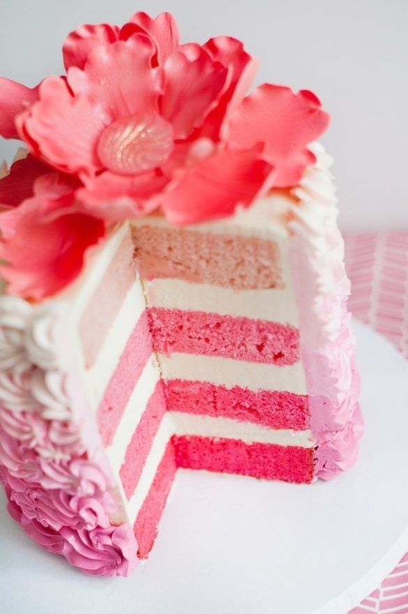 the ombre cake trend...I don't know where I've been, but I didn't know they were doing it with cake! Pretty though...