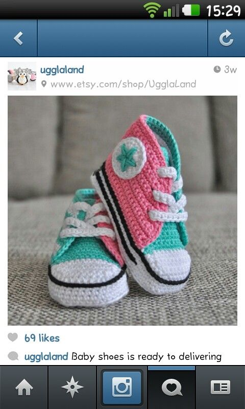 Super cute crochet converse type sneaker shoes for baby... from Swedish etsy shop