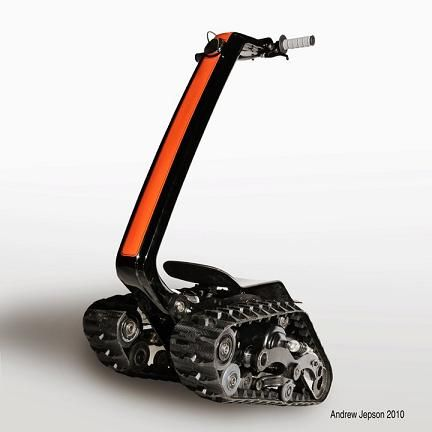 """The """"Shredder"""" has been in development for about a year, & is 1 of 2 projects Gulak is currently pursuing. He is also the inventor of the Uno, an electric unicycle-like motorcycle. """"We wanted to create a new powered sport vehicle that was small enough that you could put it in the trunk of your car,"""" he told us regarding the Shredder. """"We wanted a very small platform that had all the same capabilities as an ATV or dirt bike, and that also was a crossover between power and extreme sports."""""""
