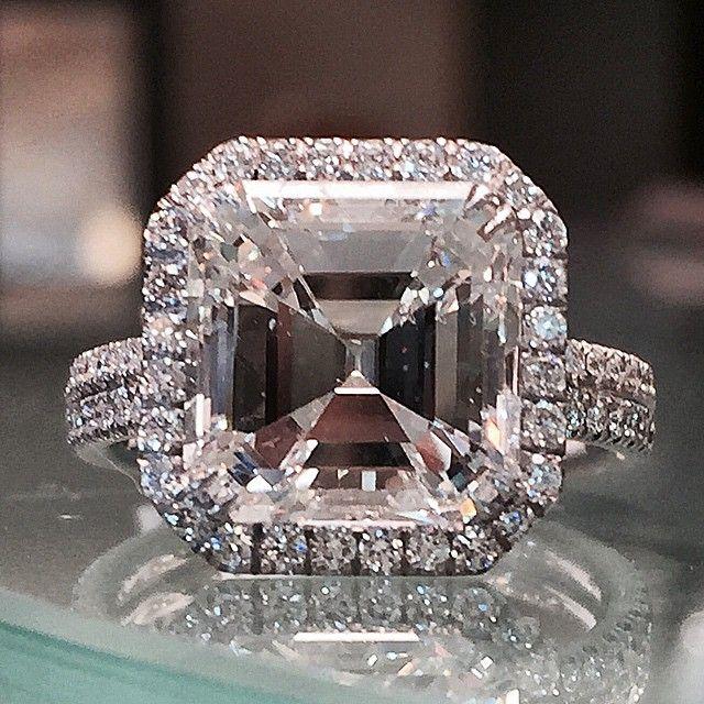 Gorgeous 5.01 asscher cut engagement ring. www.alsonjewelers.com  #diamonds #engagement #engagementrings