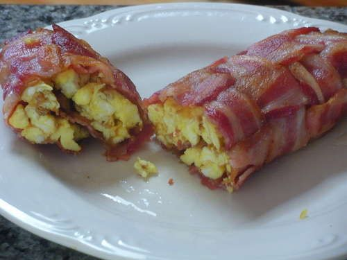 Bacon Egg Cheese Roll    This creative recipe has you weave the bacon and bake.