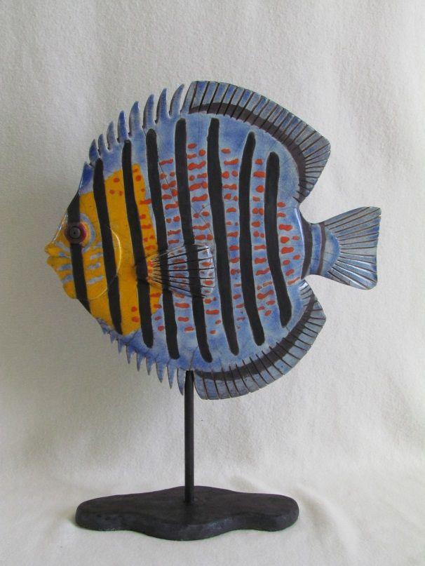 sculpture raku poisson discus céramique grès Jean-Pierre Meyer (