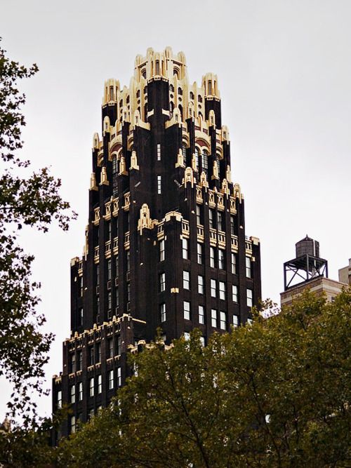 The American Radiator Building: a black brick, gold terra-cotta, gothic masterpiece on the south side of Bryant Park on 40th Street NYC.° •。★˚.