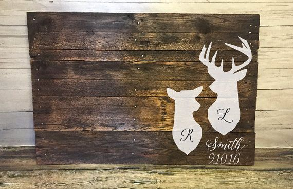 Wood Deer pallet wedding Guest book Alternative by RusticRestyle