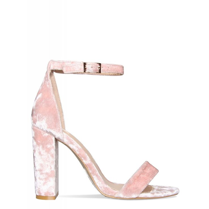 Tilly Pink Velvet Barely There Block Heels : Simmi Shoes