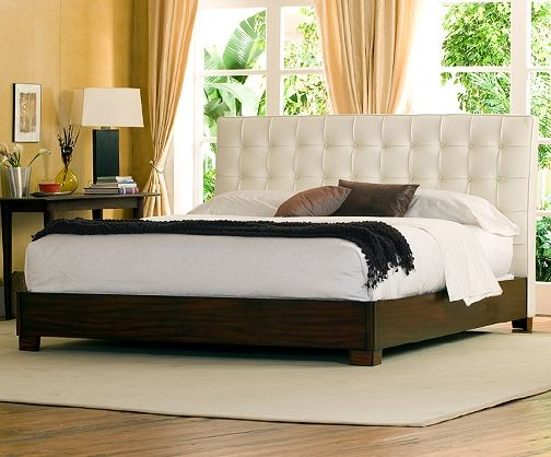 Newhouse Contemporary White Leather Bed. I'm a fan of the Mahogany railing. California King on sale for only $1,799.99