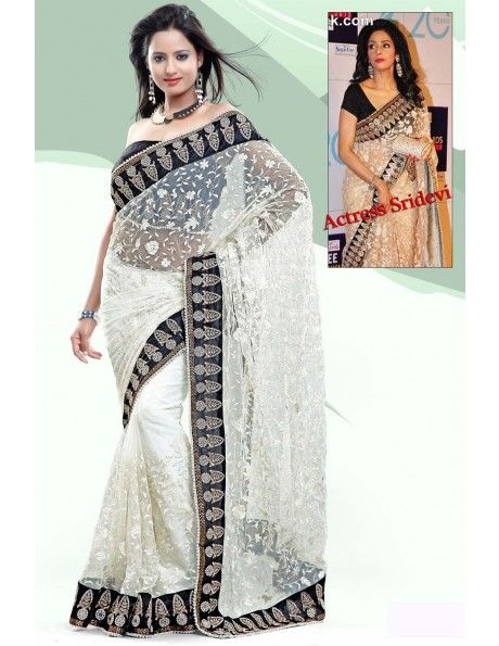 Shri Devi In White Net Saree
