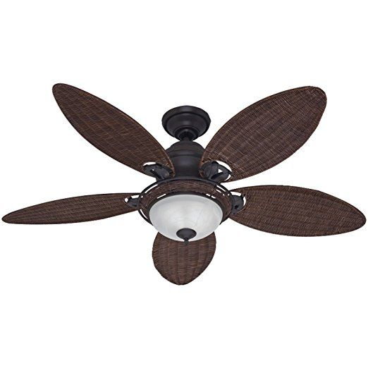 Hunter Fan Company 54095 Caribbean Breeze 54-Inch Ceiling Fan with Five Antique Dark Wicker Blades and Light Kit, Weathered Bronze    Ceiling Fan Mounting Bracket  Nautical Ceiling Fans  Craftmade Fans  Hunter Ceiling Fan Parts  Harbor Breeze Ceiling Fan Parts  Ceiling Vents  Ceiling Fan Reviews  Hunter Douglas Ceiling Fans  Low Profile Ceiling Fan With Light  Ceiling Fan Repair  Fanimation Ceiling Fans  Quiet Ceiling Fans  Mini Ceiling Fan