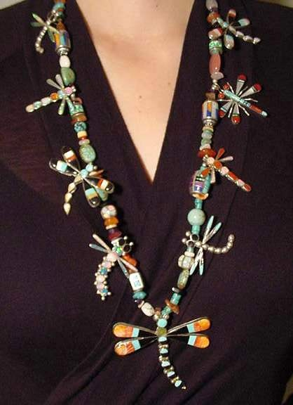 Zuni Indian Inlaid Dragonfly Necklace
