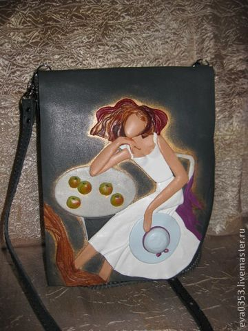 Купить Сумка из кожи - рисунок, сумка, авторская, кожа, женщина, яблоки, кожа…