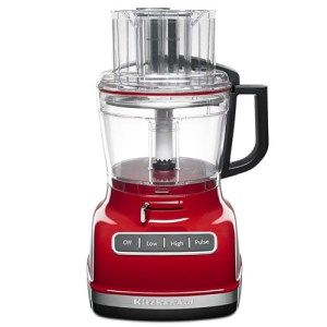KitchenAid KFP1133ER 11-Cup Food Processor: This food processor is a do it all. Equipped with 3-in-1 wide mouth chute and a powerful motor, the KFP1133ER can meet all your over-sized needs. It also comes with an easy-to-use lever that may slide left-right for varying the thickness of the slices you're after.