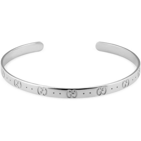 Gucci Icon Bracelet In White Gold (27.982.500 IDR) ❤ liked on Polyvore featuring jewelry, bracelets, white gold, mens chain link bracelets, mens white gold bracelets and mens 18k gold bracelets