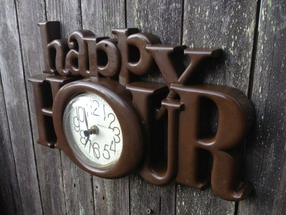 HAPPY HOUR Retro Vintage Wall Clock, Home Bar Decor,       Tavern Decor, Wall Decor, Home Decor
