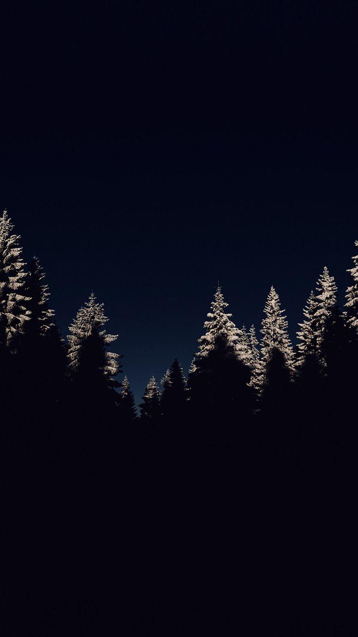 WOOD WINTER NIGHT MOUNTAIN DARK WALLPAPER HD IPHONE