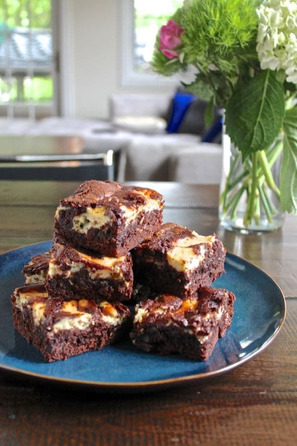 A simple recipe for Mascarpone Cheesecake Brownies made using a brownie mix.