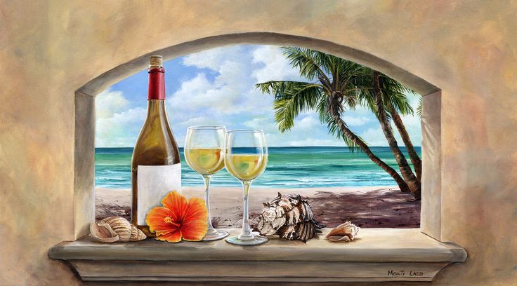 """Afternoon in the Keys""   The beach is Smathers Beach in Key West. I left the wine bottle label blank for this picture so that I could personalize          the reproductions. I later added the details of the label. fineartbymonti.com"