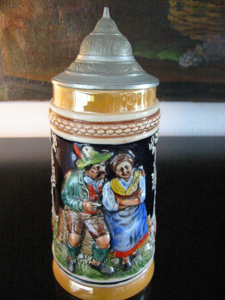 Germany Luster Pottery Beer Stein Pewter Lid Marked DBGM